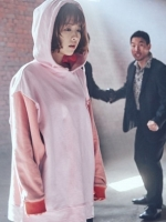 เสื้อฮู้ดแขนยาวสีชมพูเกาหลี โดบงซุน แต่งแขนเสื้อ