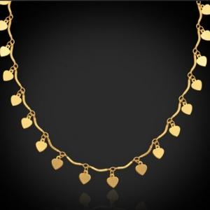 สไตล์โรแมนติกเสน่ห์แห่งสร้อยคอจี้รูปหัวใจ 18K Real Gold Plated เชื่อมโดยรอบสร้อยคอ ขนาดความยาวโดยรอบ 50cm