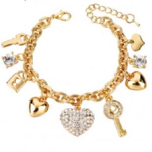 กำไลสร้อยข้อมือแฟชั่นรูปหัวใจ18K Real Gold Platedเพิ่มเสน่ห์ด้วยคริสตัลออสเตเรีย ขนาดความยาว19.0CM.