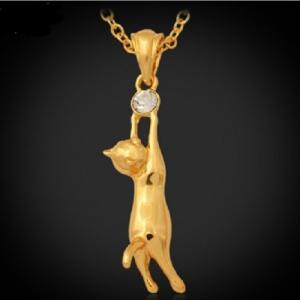 สร้อยคอแมวน้อยน่ารักสไตล์อินเทรนด์18K Real Gold Plated ประดับคริสตัลตรงกลาง ขนาดจี้:1.5*5CM สร้อยยาวประมาณ 50CM.