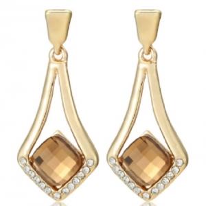 ต่างหูทอง สไตล์คลาสิค 18K Gold Plated ทรงเรขาคณิตงดงามด้วยคริสตัลออสเตเรีย ขนาด1.8*4.3CM