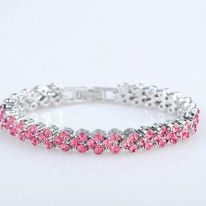 สร้อยข้อมือคริสตัลSwarovski Pink Sapphire(ไพลินสีชมพู) สวยงามมาก ขนาดความยาว 20 CM.
