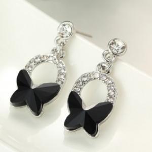 ต่างหูสไตล์คลาสิคผีเสื้อน้อยน่ารักคริสตัลสีดำเพิ่มความโดดเด่นด้วยคริสตัลสีขาวสวยงาม ขนาด1.3*3.0CM