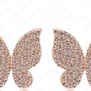 ต่างหูสไตล์อินเทรนด์ผีเสื้อน้อยน่ารัก18k Gold Plated ผสมคริสตัลออสเตเรียสวยงามมาก ขนาด1.6*1.6CM.