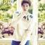 เสื้อแขนยาวแฟชั่นสีขาว EXO พิมพ์ลายต้นไม้หน้าหลัง