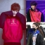 เสื้อฮู้ดแจ็คเก็ตแขนยาวสีดำ/แดง EXO แต่งรูปโลโก้