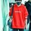 เสื้อฮู้ดแขนยาวสีแดง TFBOYS ทรงหลวม แต่งลายอักษร