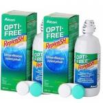 Alcon opti-free Replenish 300 ml. น้ำยาสำหรับล้างฆ่าเชื้อและแช่เก็บเลนส์เพื่อทำให้เลนส์สะอาดและชุ่มชื้น x2 ขวด ฟรี ตลับใส่ตอนแทคเลนส์