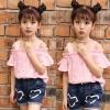 ชุดเซ็ทเด็กโต เสื้อเปิดไหล่สีชมพู+กางเกงยีนส์ น่ารักสดใส ใส่แล้วดูเก๋น่ารักมากๆเลยค่ะ