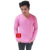 เสื้อยืดคอวีแขนยาว สีชมพู