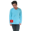 เสื้อยืดคอวีแขนยาว สีฟ้าใส