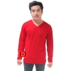 เสื้อยืดคอวีแขนยาว สีแดง