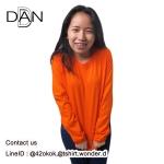 เสื้อยืดคอกลมแขนยาว สีส้ม