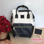 Anello กระเป๋าเป้ สะพายหลัง รุ่น Pu Leather Rucksack mini แท้100% สีขาว-ดำ