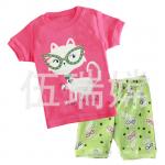 ชุดนอนแขนสั้นสีชมพูลายแมว+กางเกงสีเขียวขาสั้น ใส่สบายน่ารักมากค่ะ
