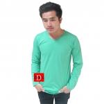 เสื้อยืดคอวีแขนยาว สีเขียวมิ้น