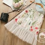 เดรสกระโปรงลายดอกไม้ แขนกุดต่อชายด้วยผ้าโปร่ง ดูสวยหวานน่ารักเรียบร้อยค่ะ