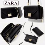 ZARA 2 in 1 กระเป๋าถือ สะพายไหล่ รุ่น Wallet Crossbody สีดำ