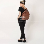 Anello กระเป๋าเป้ สะพายหลัง รุ่น pu rucksack mini แท้100% สีน้ำตาล