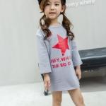 เดรสสาวน้อยสีเทาแขนยาว สกรีนรูปดาวและตัวอักษรสีแดง (ใส่เป็นเดรสหรือใส่กับเลคกิ้งก็น่ารักค่ะ)