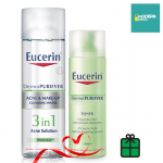 DermoPURIFYER ACNE & MAKE-UP CLEANSING WATER 200 ml.+ Eucerin DermoPURIFYER TONER 200 ML. SET สุดคุ้ม