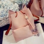 MJ0062 สีชมพู กระเป๋าสะายไหล่ + กระเป๋าสตางค์