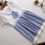ชุดคลุมท้องสไตล์ญี่ปุ่นเสื้อสีขาวกระโปรงสีฟ้าเป็นชุดต่อกันค่ะ น่ารักมากค่ะชุดนี้