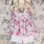 ชุดเซ็ทสาวน้อย เสื้อสายเดี่ยวลายดอกกุหลาบ + กางเกงสีขาวใส่คู่กันลงตัวมาก ผ้าใส่สบายมากค่ะ