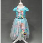 ชุดกระโปรงแขนตุ๊กตาสีฟ้า ลายเจ้าหญิง Frozen Elsa&Anna งานสวยใส่แล้วน่ารักมากค่ะ