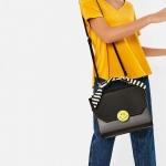 Zara city bag with scarf detail กระเป๋าถือ-สะพายข้าง สีดำ