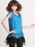 เดรสคลุมท้องผ้าลูกไม้สีน้ำเงินชายกระโปรงเป็นผ้าแก้วลายดอกไม้ สวยหรูมากค่ะ