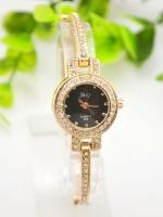 นาฬิกาแฟชั่นผู้หญิงหน้าปัดดำ Rhinestone Korean Style