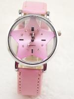 นาฬิกาแฟชั่นผู้หญิงหน้าปัด Star สายหนังสีชมพู **ตำหนิเล็กน้อย**
