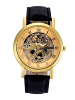 นาฬิกาแฟชั่นผู้ชายหน้าปัด Dragon สายหนังสีดำ