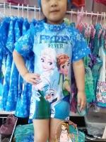 ชุดว่ายน้ำบอดี้สูทเด็กหญิงลายเจ้าหญิงหิมะ Frozen สีฟ้า+หมวก มีซิบหลังใส่สบายน่ารักมากๆ เลยค่ะ