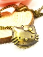 สร้อยคอนาฬิกาสีทองรมดำ Hello kitty