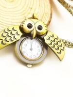 สร้อยคอนาฬิกาสีทองรมดำ Owl