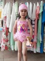 ชุดว่ายน้ำสีชมพูรวมเจ้าหญิง ช่วงเอวระบายดอกไม้ฟรุ้งฟริ้งน่ารักมากค่ะ + หมวกด้วยค่ะ