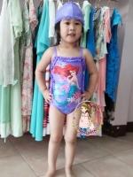 ชุดว่ายน้ำเจ้าหญิงแอเรียลสีม่วง เปิดโชว์ด้านข้าง สายปรับได้ค่ะ + หมวกด้วยค่ะ