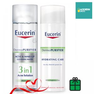 DermoPURIFYER ACNE & MAKE-UP CLEANSING WATER 200 ml.+ Eucerin DermoPURIFYER HYDRATING CARE 50 ML.SET สุดคุ้ม