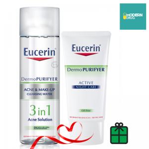 Eucerin DermoPURIFYER ACNE & MAKE-UP CLEANSING WATER ขนาด 200 ML.+ Eucerin DermoPURIFYER ACTIVE NIGHT 50 ML. แพ็คคู่สุดคุ้ม