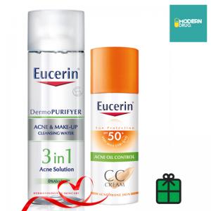 DermoPURIFYER ACNE & MAKE-UP CLEANSING WATER 200 ml.+ Eucerin Sun CC Cream SPF50+ PA++++ 50ml. ยูเซอริน ซัน ซีซี ครีม เอสพีเอฟ 50+ (50 มล.) SET สุดคุ้ม