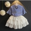 ชุดเสื้อ+กระโปรงสีขาว แต่งระบายพริ้วๆ เป็นชั้นๆ เอวยางยืด เป็นเซตที่น่ารักมากๆเลยค่ะ thumbnail 2