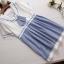 ชุดคลุมท้องสไตล์ญี่ปุ่นเสื้อสีขาวกระโปรงสีฟ้าเป็นชุดต่อกันค่ะ น่ารักมากค่ะชุดนี้ thumbnail 1