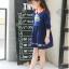 เดรสสาวน้อยสีน้ำเงินแขนยาว แต่งรูปดอกไม้ ปกคอสีส้มตัดกับตัวเสื้อ งานสวยมากน่ารักสุดๆค่ะ thumbnail 3