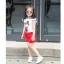 ชุดเซ็ท 2 ชิ้น เสื้อแขนสั้น+กางเกงขาสั้นสีแดง น่ารักสดใส ใส่แล้วดูเก๋น่ารักมากๆเลยค่ะ thumbnail 2