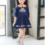เดรสสาวน้อยสีน้ำเงินแขนยาว แต่งรูปดอกไม้ ปกคอสีส้มตัดกับตัวเสื้อ งานสวยมากน่ารักสุดๆค่ะ thumbnail 2