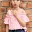 ชุดเซ็ทเด็กโต เสื้อเปิดไหล่สีชมพู+กางเกงยีนส์ น่ารักสดใส ใส่แล้วดูเก๋น่ารักมากๆเลยค่ะ thumbnail 2