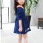เดรสสาวน้อยสีน้ำเงินแขนยาว แต่งรูปดอกไม้ ปกคอสีส้มตัดกับตัวเสื้อ งานสวยมากน่ารักสุดๆค่ะ thumbnail 5