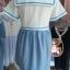 ชุดคลุมท้องสไตล์ญี่ปุ่นเสื้อสีขาวกระโปรงสีฟ้าเป็นชุดต่อกันค่ะ น่ารักมากค่ะชุดนี้ thumbnail 4